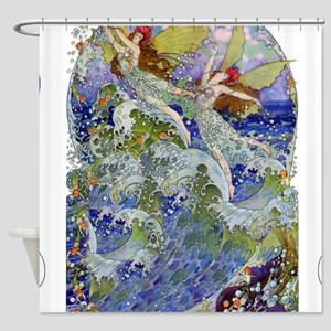 Djer Kiss Art Deco Sea Fairies Shower Curtain