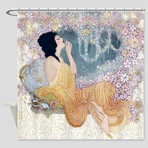 Art Deco Vanity Lady Shower Curtain