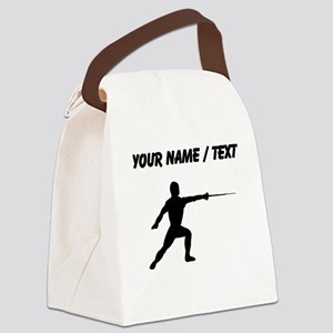 Custom Fencer Silhouette Canvas Lunch Bag