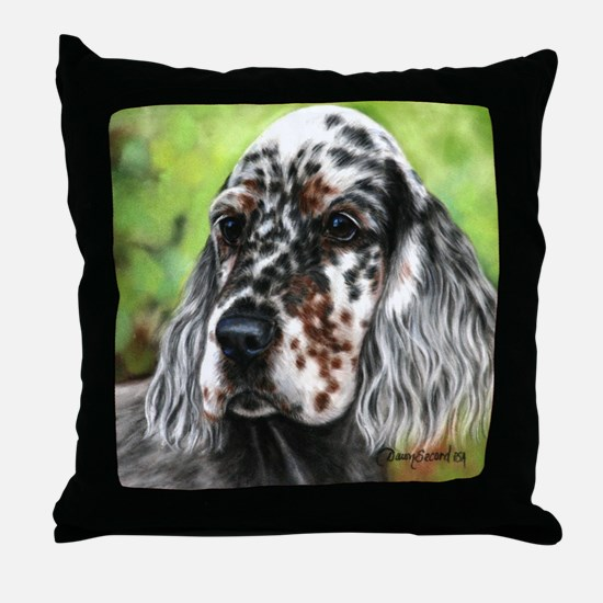 English Setter pup by Dawn Secord Throw Pillow