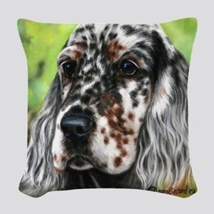 English Setter pup by Dawn Secord Woven Throw Pill