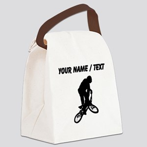 Custom BMX Biker Silhouette Canvas Lunch Bag