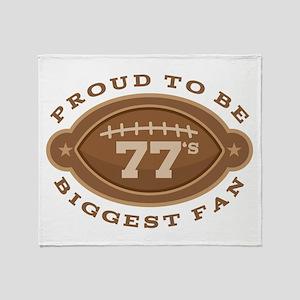 Football Number 77 Biggest Fan Throw Blanket