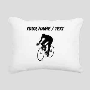 Custom Cyclist Silhouette Rectangular Canvas Pillo