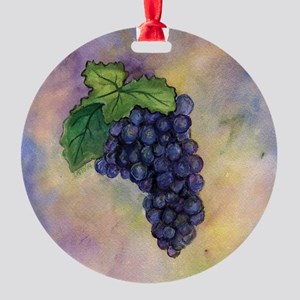 Red Wine Grapes Round Ornament