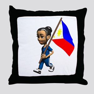 Philippines Girl Throw Pillow