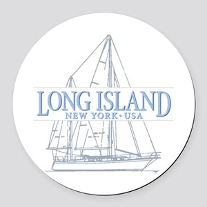 Long Island - Round Car Magnet