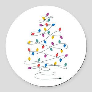 Christmas Lights Round Car Magnet
