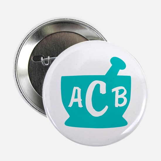 "Teal Monogram Mortar and Pestle 2.25"" Button"