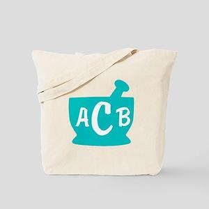 Teal Monogram Mortar and Pestle Tote Bag