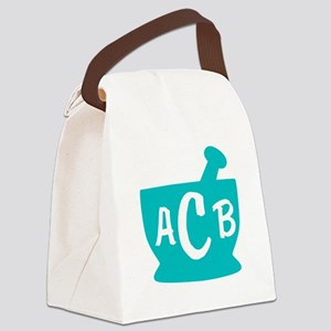 Teal Monogram Mortar and Pestle Canvas Lunch Bag