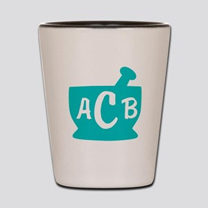 Teal Monogram Mortar and Pestle Shot Glass