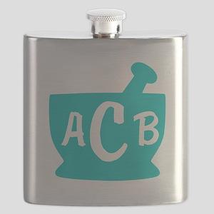 Teal Monogram Mortar and Pestle Flask