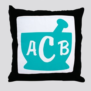 Teal Monogram Mortar and Pestle Throw Pillow