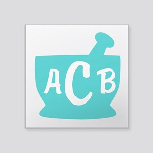 "Teal Monogram Mortar and Pe Square Sticker 3"" x 3"""