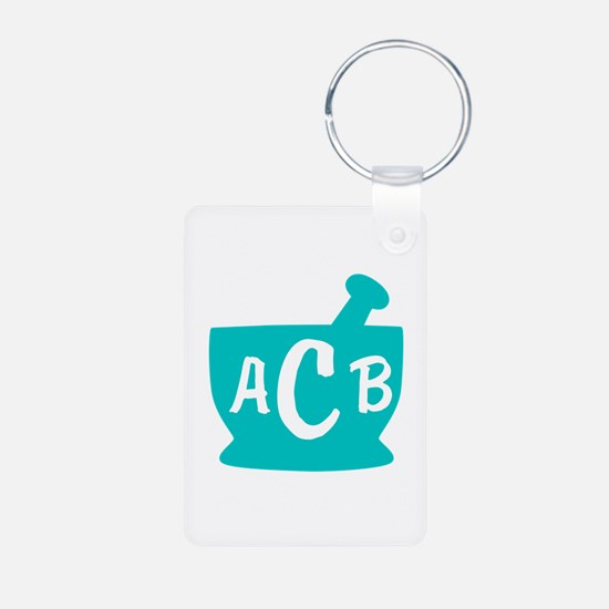 Teal Monogram Mortar and P Keychains