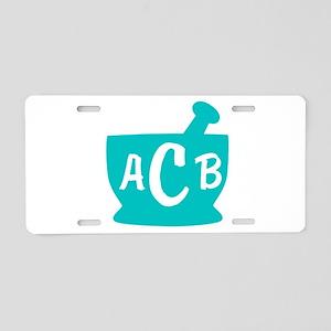 Teal Monogram Mortar and Pe Aluminum License Plate