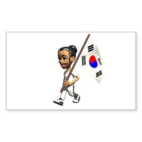 South Korea Girl Rectangle Sticker