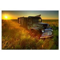 Old Abandoned Farm Truck Illuminated At Sunrise, S Canvas Art