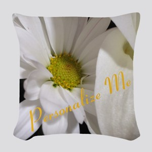 Personalized Daisy Woven Throw Pillow