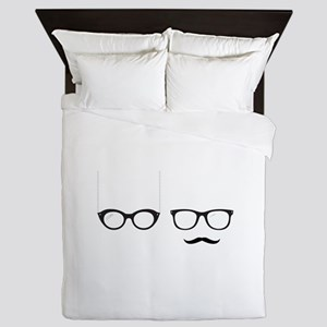 Glasses His Hers Queen Duvet