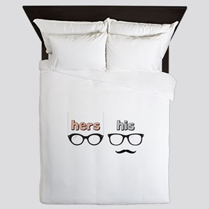 Hers His Glasses Queen Duvet