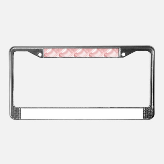 Trendy Pink Faux Quilted Satin License Plate Frame