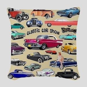Car Show Woven Throw Pillow