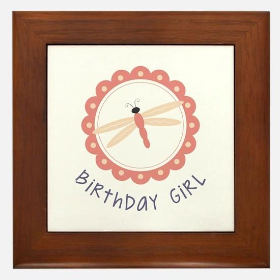 Dragonfly Birthday Girl Framed Tile