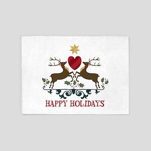 Happy Holidays 5'x7'Area Rug