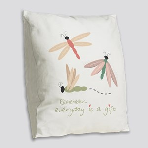 Dragonfly Day Gift Burlap Throw Pillow