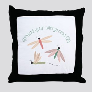 Dragonfly Spread Wings Throw Pillow