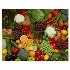 Produce, Spread of mixed fruits and vegetables Poster