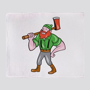 Paul Bunyan LumberJack Isolated Cartoon Throw Blan