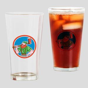 Paul Bunyan LumberJack Circle Cartoon Drinking Gla