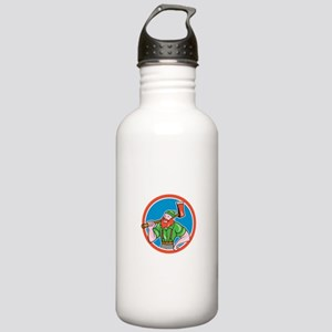 Paul Bunyan LumberJack Circle Cartoon Water Bottle