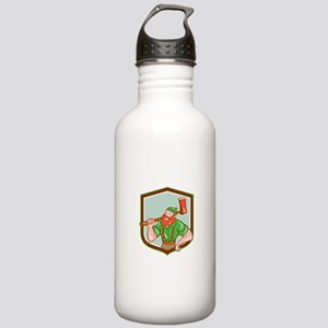 Paul Bunyan LumberJack Shield Cartoon Water Bottle