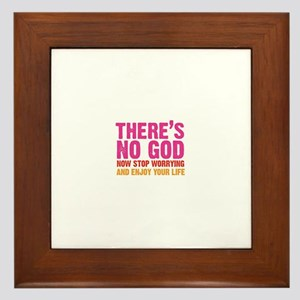 there's no god Framed Tile