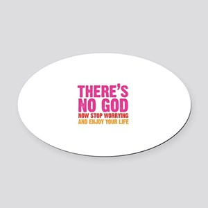 there's no god Oval Car Magnet