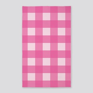 Gingham Pink Checks 3'x5' Area Rug