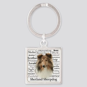 Sheltie Traits Square Keychain