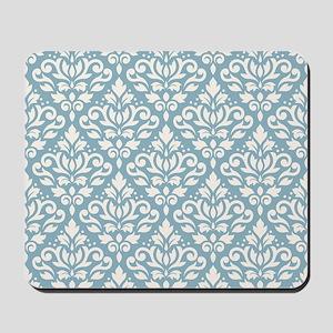 Scroll Damask Ptn Cream On Blue Mousepad