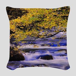 Mountain Stream at Big Creek Woven Throw Pillow