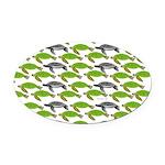 School of Sea Turtles v2sq Oval Car Magnet