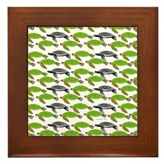 School of Sea Turtles v2sq Framed Tile