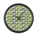 School of Sea Turtles v2sq Large Wall Clock