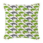 School of Sea Turtles v2sq Woven Throw Pillow
