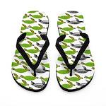 School of Sea Turtles v2sq Flip Flops