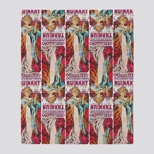 Alfons Mucha 1898 Champagne Ruinart Throw Blanket
