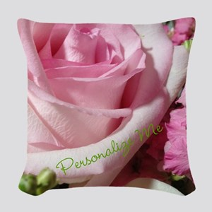 Personalized Rose Woven Throw Pillow